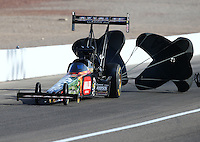 Apr 11, 2015; Las Vegas, NV, USA; NHRA top fuel driver Terry McMillen during qualifying for the Summitracing.com Nationals at The Strip at Las Vegas Motor Speedway. Mandatory Credit: Mark J. Rebilas-