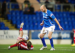 St Johnstone v Aberdeen...13.12.11   SPL .Andrew Considine handles the ball in the box in front of Sam Parkin.Picture by Graeme Hart..Copyright Perthshire Picture Agency.Tel: 01738 623350  Mobile: 07990 594431