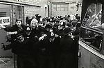 Grunwick Strike North London UK. Busses bring strik breakers - scabs - to the Grunwick factory.