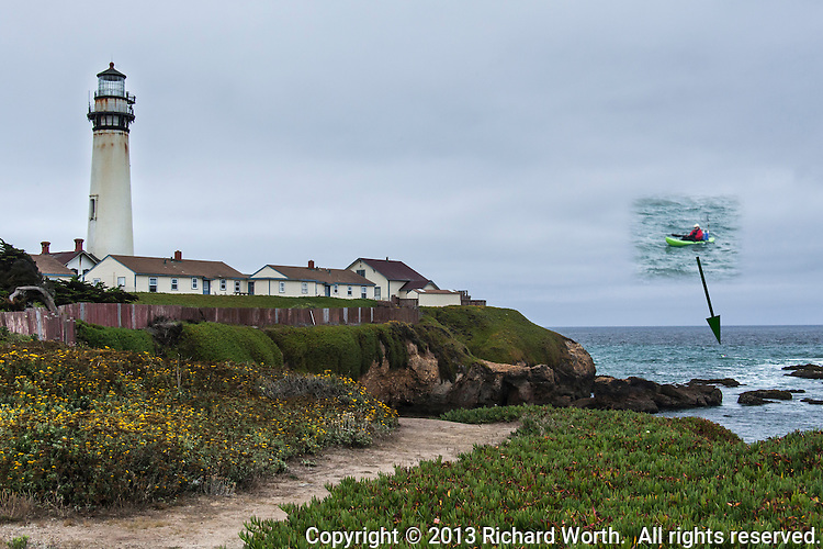 A boater floats in the water near Pigeon Point Lighthouse on the California Coast.   In this composite of two images a slightly larger view of the boater has been superimposed over the wider image for context.