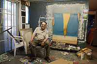 Ruben Garcia Benavides, painter, at his house in Mexicali, Mexico...© Stefan Falke.http://www.stefanfalke.com/..