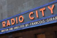Neon sign at Radio City Music Hall in New York City, New York