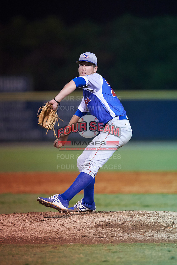 College of Central Florida Patriots relief pitcher Ben Koff (20) delivers a pitch during a game against the SCF Manatees on February 8, 2017 at Robert C. Wynn Field in Bradenton, Florida.  SCF defeated Central Florida 6-5 in eleven innings.  (Mike Janes/Four Seam Images)