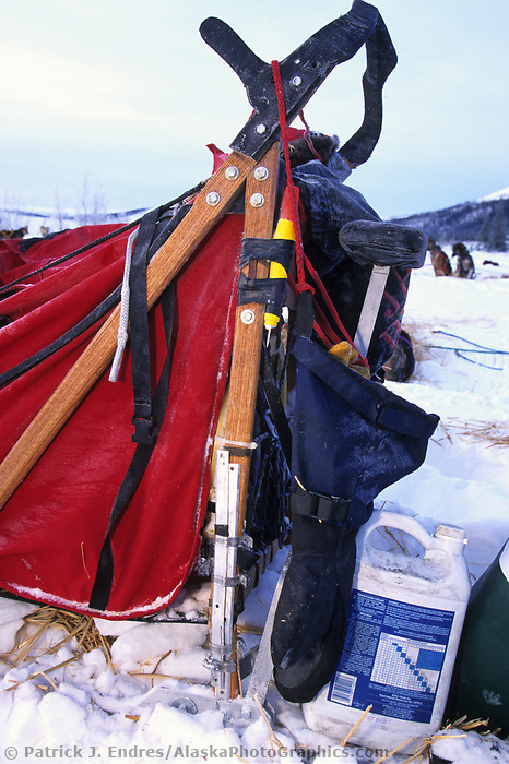 Repaired dog sled during the1000 mile Yukon Quest trail to Whitehorse, Canada, Steese mountains, 100 miles from Fairbanks, Alaska