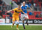 St Johnstone v Motherwell.....19.05.13      SPL.Henrik Ojamaa and Steven Anderson.Picture by Graeme Hart..Copyright Perthshire Picture Agency.Tel: 01738 623350  Mobile: 07990 594431