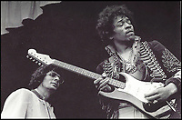 BNPS.co.uk (01202 558833)<br /> Pic: Collect<br /> <br /> Hendrix at rehearsal with his Strat' at Monterey watched by Al Cooper.<br /> <br /> The guitar rock legend Jimi Hendrix tricked his fans into thinking he had burned on stage at a famous concert 50 years ago has emerged for auction and is tipped to sell for &pound;500,000.<br /> <br /> Hendrix was said to be so fond of the Fender Strat that he couldn't bring himself to destroy it. <br /> <br /> Instead, the guitar was swapped at the last minute before playing Wild Thing and then famously set on fire at the Monterey International Pop Festival.<br /> <br /> The moment he knelt down and poured lighter fluid onto the instrument before taking a match to it has become one of the most iconic images in rock history.