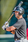 20 August 2015: Tri-City ValleyCats catcher Anthony Hermelyn awaits his turn in the batting cage prior to a game against the Vermont Lake Monsters at Centennial Field in Burlington, Vermont. The Stedler Division-leading ValleyCats defeated the Lake Monsters 5-2 in NY Penn League action. Mandatory Credit: Ed Wolfstein Photo *** RAW Image File Available ****