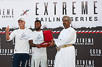 Extreme Sailing Series 2011. Leg 1. Muscat. Oman.Day 5 of racing.   Picture showing Torvar Mirsky and Khamis Al Anbouri of The Wave at prize-giving.