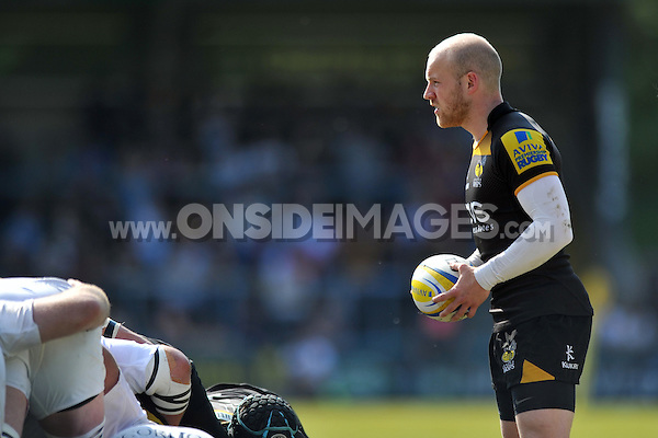 Joe Simpson looks to put the ball into a scrum. European Champions Cup play-off, between London Wasps and Stade Francais on May 18, 2014 at Adams Park in High Wycombe, England. Photo by: Patrick Khachfe / JMP