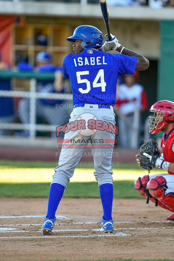Ibandel Isabel (54) of the Ogden Raptors at bat against the Orem Owlz in Pioneer League action at Home of the Owlz on June 25, 2016 in Orem, Utah. Orem defeated Ogden 4-1.  (Stephen Smith/Four Seam Images)