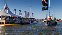 BRAZIL, Itajai. 6th April 2012. Volvo Ocean Race. Spectators welcome Puma Ocean Racing to Itajai.