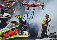 Jul 24, 2016; Morrison, CO, USA; NHRA top fuel driver J.R. Todd during the Mile High Nationals at Bandimere Speedway. Mandatory Credit: Mark J. Rebilas-USA TODAY Sports