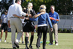 26 October 2008: Duke's Sheila Kramer (3) and head coach Robbie Church (right) during Senior Day festivities. The Duke University Blue Devils defeated the Clemson University Tigers 6-0 at Koskinen Stadium in Durham, North Carolina in an NCAA Division I Women's college soccer game.