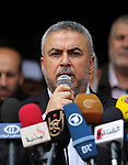 Senior Hamas leader Ismail Radwan delivers a speech during a protest against  U.S. President Donald Trump comments linking Hamas with terrorism and his visits to Palestinian territories in Gaza city on May 23, 2017. Photo by Ashraf Amra