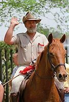 Afrikaner Weerstandsbeweging (AWB) (Afrikaner Resistance Movement) leader Eugene Terre'Blanche on a horse in Vereeniging....
