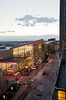 The Colorado Convention Center in Denver at dusk.