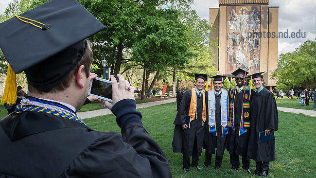 May 15, 2016; Graduates pose for photos, Commencement 2016. (Photo by Matt Cashore/University of Notre Dame)