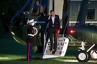 United States President Barack Obama salutes the Marine Guard as he steps off Marine One on the South Lawn of the White House in Washington, DC, USA, 09 October 2016. President Obama is returning from a weekend in Chicago.<br /> Credit: Shawn Thew / Pool via CNP /MediaPunch