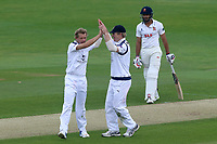 Gareth Berg of Hampshire is congratulated by his team mates after taking the wicket of Adam Wheater during Essex CCC vs Hampshire CCC, Specsavers County Championship Division 1 Cricket at The Cloudfm County Ground on 20th May 2017
