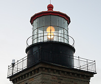 A closeup view of the lantern room of the lighthouse at Point Sur Light Station