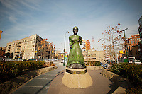 Swing Low, 2007, by the sculptor Alison Saar is the centerpiece of the Harriet Tubman Memorial on St. Nicholas Avenue in Harlem, seen on Monday,  January 16, 2012. Tubman was an abolitionist responsible for rescuing slaves via the Underground Railroad. (© Richard B. Levine)
