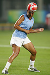 06 August 2008: Angela Hucles (USA).  The women's Olympic team of Norway defeated the United States women's Olympic soccer team 2-0 at Qinhuangdao Olympic Center Stadium in Qinhuangdao, China in a Group G round-robin match in the Women's Olympic Football competition.