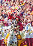 Osceola atop the new Renegade Vl on a day that saw Renegade V retired at halftime and  Florida State defeat Wake Forest 43-3 in an NCAA football game in Tallahassee, FL October 4, 2014.