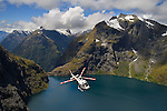 Helcopter sightseeing over Lake Quill,  Fiordland National Park New Zealand.