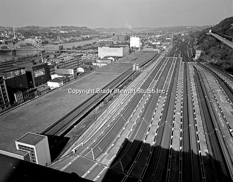 Pittsburgh PA:  View of uptown and the strip district from the roof of the Pennsylvania Railroad Pittsburgh's Penn Station - 1959.