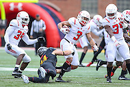 College Park, MD - November 26, 2016: Rutgers Scarlet Knights wide receiver Jawuan Harris (3) gets tackled by Maryland Terrapins running back Jake Funk (34) during game between Rutgers and Maryland at  Capital One Field at Maryland Stadium in College Park, MD.  (Photo by Elliott Brown/Media Images International)
