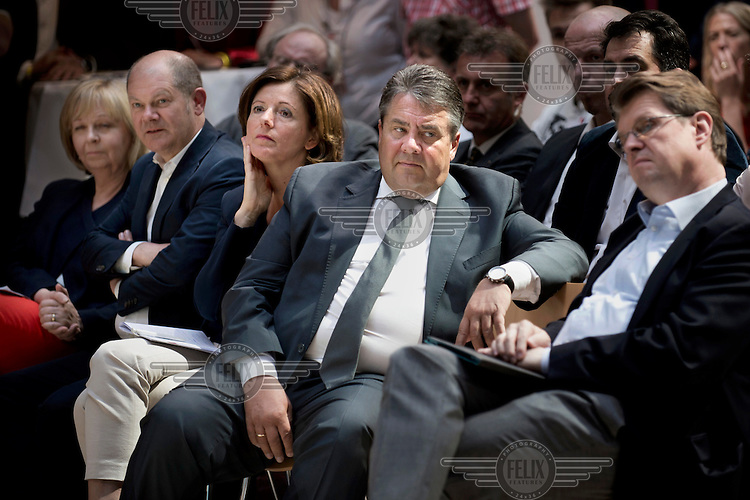 Hannelore Kraft, MP for Nordrhein-Westfalen, Olaf Scholz, Mayor of Hamburg, Malu Dreyer, MP for Rheinland-Pfalz, Sigmar Gabriel, Chairman of the SPD, and Ralf Stegner during an Social Democratic Party (SPD) conference, at their party headquarters, on equality as they launch their 2017 election campaign.