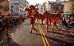 Dragon dancers parade down East Broadway during the Chinese Lunar New Year parade in Chinatown in New York, United States. 29/01/2012. Photo by Kena Betancur / viewpress.