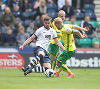 Preston North End's Paul Huntington battles with  Norwich City's Steven Naismith<br /> <br /> Photographer Mick Walker/CameraSport<br /> <br /> The EFL Sky Bet Championship - Preston North End v Norwich City - Monday 17th April 2017 - Deepdale - Preston<br /> <br /> World Copyright &copy; 2017 CameraSport. All rights reserved. 43 Linden Ave. Countesthorpe. Leicester. England. LE8 5PG - Tel: +44 (0) 116 277 4147 - admin@camerasport.com - www.camerasport.com