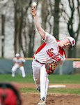 WOLCOTT CT. 17 April 2017-041517SV08-#16 Jack Drewry of Wolcott High pitches to Watertown High in the 1st inning during NVL baseball action in Wolcott Monday. <br /> Steven Valenti Republican-American