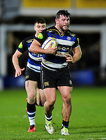 Nathan Catt of Bath Rugby in possession. Aviva Premiership match, between Bath Rugby and Saracens on April 1, 2016 at the Recreation Ground in Bath, England. Photo by: Patrick Khachfe / Onside Images