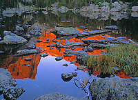 Hallet Peak reflecting in Dream Lake, Rocky Mountain National Park, Colorado.