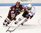 Benn Ferriero (Boston College -  21), Rob Rassey (Northeastern - 37) - The Northeastern University Huskies defeated the Boston College Eagles 2-1 OT in the NU senior night game on Friday, March 6, 2009 at Matthews Arena in Boston, Massachusetts.