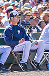 14 March 2014: Detroit Tigers Manager Brad Ausmus takes notes as he watches a Spring Training Game against the Washington Nationals at Joker Marchant Stadium in Lakeland, Florida. The Tigers defeated the Nationals 12-6 in Grapefruit League play. Mandatory Credit: Ed Wolfstein Photo *** RAW (NEF) Image File Available ***