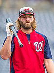 20 September 2013: Washington Nationals outfielder Jayson Werth awaits his turn in the batting cage prior to a game against the Miami Marlins at Nationals Park in Washington, DC. The Nationals shut out the Marlins 8-0 to take the second game of their 4-game series. Mandatory Credit: Ed Wolfstein Photo *** RAW (NEF) Image File Available ***