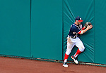 3 September 2012: Washington Nationals rookie outfielder Bryce Harper pulls in a fly ball hit by David DeJesus in the 8th inning of a game against the Chicago Cubs at Nationals Park in Washington, DC. The Nationals edged out the visiting Cubs 2-1, in the first game of heir 4-game series. Mandatory Credit: Ed Wolfstein Photo