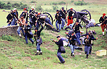 Union Forces fire upon Confederate defenders while attacking during the Battle of Fort Morgan, Mobile, Al in 2001.  Ft. Morgan, a critical fortification during the Civil War, was the next-to last fortress to fall as the Civil War ended. Jim Bryant Photo. @2001. All Rights Reserved.
