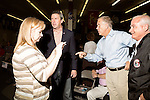 September 20, 2014. Greensboro, North Carolina.<br />  US Senate candidate Thom Tillis, 2nd from right, and US Congressional candidate Mark Walker, 2nd from left, spoke before giving short speeches to supporters.<br />  Thom Tillis and Mark Walker hosted a rally at the Guilford County Republican Party headquarters for their supporters in the upcoming November election. Tillis, the current Speaker of the House for the NC House of Representatives, is running to take Democrat Kay Hagan's US Senate seat, while Walker, a local pastor, is running for the NC 6th District' s US Congressional seat.