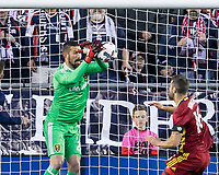 Foxborough, Massachusetts - May 13, 2017: In a Major League Soccer (MLS) match, New England Revolution (blue/white) defeated Real Salt Lake (maroon), 4-0, at Gillette Stadium.
