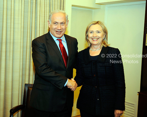 United States Secretary of State Hillary Rodham Clinton is greeted by Israeli Prime Minister Benjamin Netanyhahu at the Prime Minister's Residence in Jerusalem, Israel, on Wednesday, September 15, 2010. .Credit: Department of State via CNP.