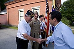 Matt Dunne Democratic candidate for governor (right) greets vets and active service members at 2010 Jamaica old home day celebration.