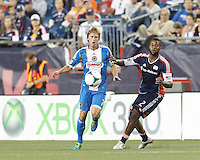 In a Major League Soccer (MLS) match, the New England Revolution (dark blue) defeated Philadelphia Union (light blue), 5-1, at Gillette Stadium on August 25, 2013.