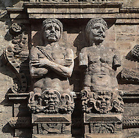 Telamons depicting enslaved Muslims captured duringh Charles V's conquest of Tunis, 16th century, Porta Nuova, city gate in Palermo, Sicily, Italy. Picture by Manuel Cohen