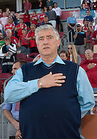 August 10, 2013: Seattle Sounders FC head coach Sigi Schmid during the opening ceremonies  in an MLS regular season game between the Seattle Sounders and Toronto FC at BMO Field in Toronto, Ontario Canada.<br /> Seattle Sounders FC won 2-1.