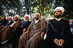 At an election rally, Hezbollah members, their supporters, and other invitees await a speech by Shiekh Hassan Nasrallah, secretary general of Hezbollah. Ba'albek, Lebanon. June 2005