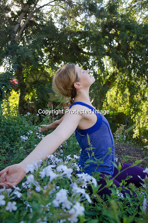 Stock photo of beautiful woman enjoying nature